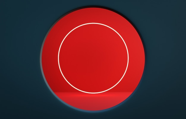 Prussian blue color wall with round shape window with red wall and round shape led light inside. photorealistic 3d rendering.
