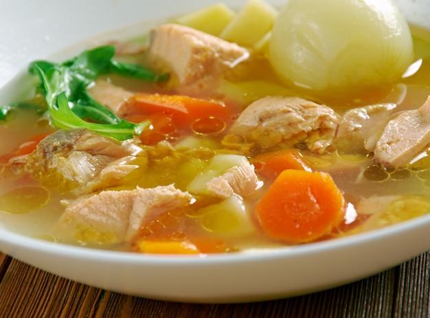 Psarosoupa -  fish soup, traditional to greek cuisine.