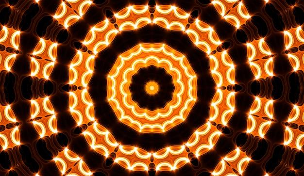 별이 있는 사이키델 노란색과 검은색 만화경. 광학 확장 환상.