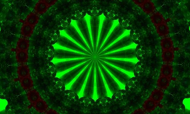 환각 장식 만화경입니다. 밝은 네온 형태. 녹색 자연 그림입니다. 추상 빛나는 패턴. 인도, 한국, 아랍 장식. 포장지, 배경, 벽지, 지문에 좋습니다.