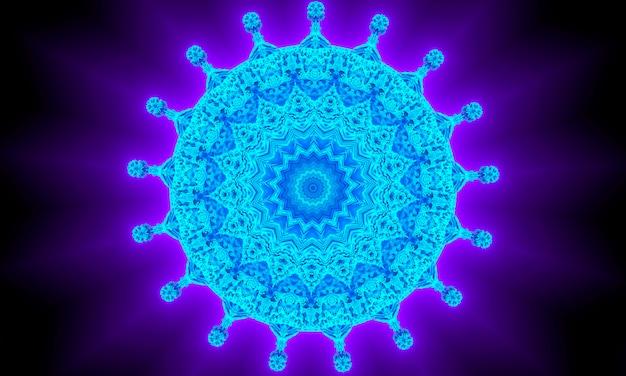 환각 장식 만화경입니다. 밝은 네온 형태. 자외선 그림입니다. 추상 빛나는 패턴. 인도, 한국, 아랍 장식. 포장지, 배경, 벽지, 지문에 좋습니다.