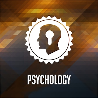 Psychological concept. retro label design. hipster made of triangles, color flow effect.