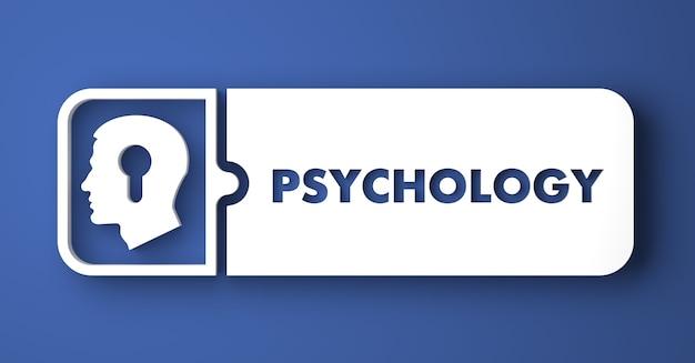心理学の概念。フラットなデザインスタイルの青い背景の上の白いボタン。