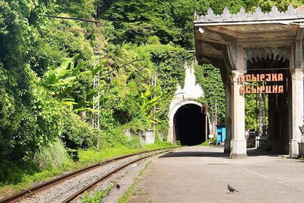 Железнодорожная станция псырцха. туннель поезда через гору. новый афон, республика абхазия.