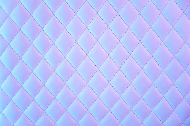 ネオンの光で幾何学的なダイヤモンドパターンキルトpuレザー