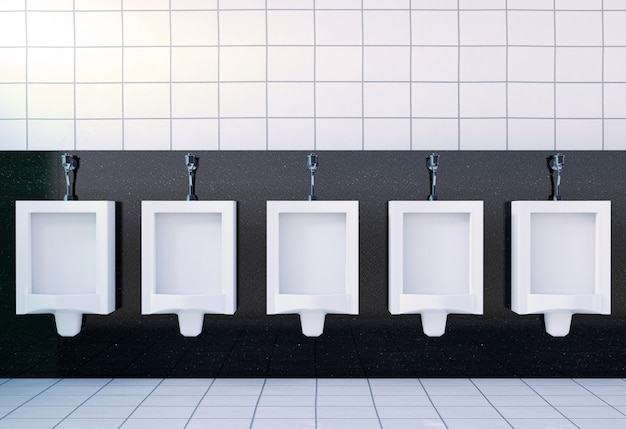 Интерьер мужской туалетной комнаты с белыми писсуарами, 3d рендеринг