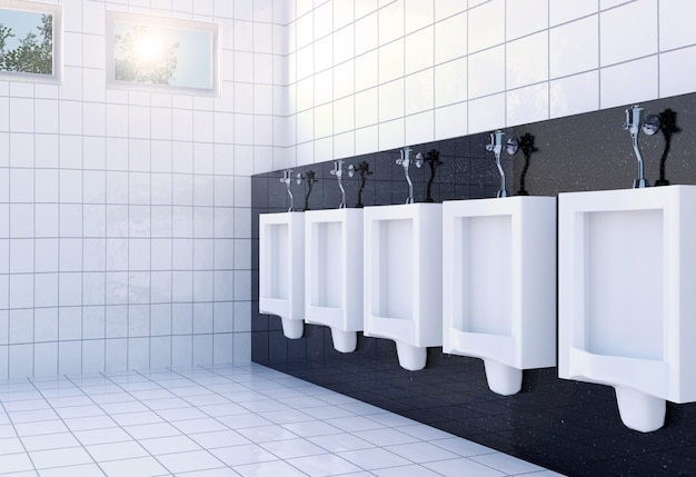 Public men's toilet room interior with white urinals, 3d rendering