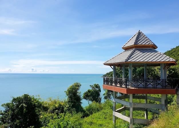 Public pavillion edge of scenic coastline route along the coast of the gulf of thailand