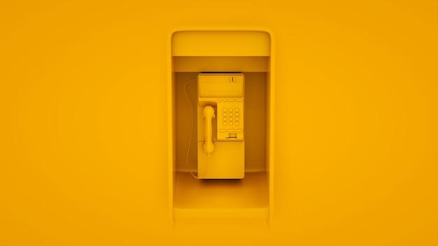 노란색 배경에 고립 된 공중 공중 전화입니다. 3d 그림입니다.