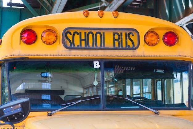 Public school bus on the road