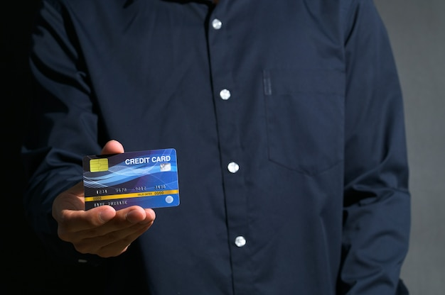 Public shows the use of a blue credit card.