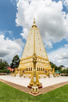 Public temple wat phrathat nong bua on the blue sky located in ubon ratchathani province, thailand