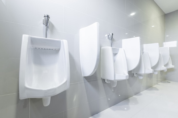 Public toilet urinals lined up