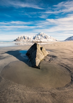 Puddle sand and rock with snowy mountain
