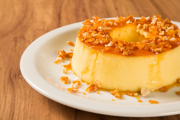 Pudim de leite. brazilian flan made with milk and condensed milk, topped with caramel sauce.