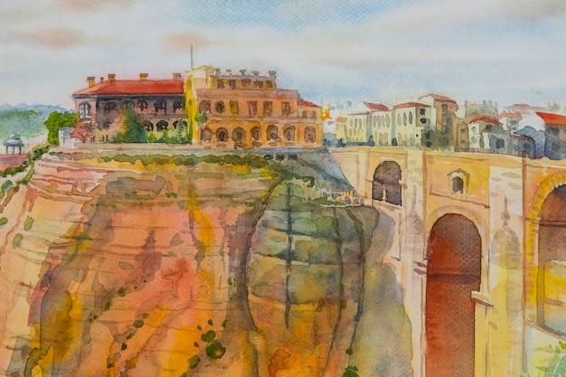 The puente nuevo new bridge over guadalevin river in ronda, andalusia, spain.