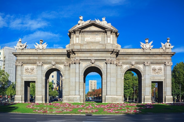 The puerta de alcala at independence square  madrid spain