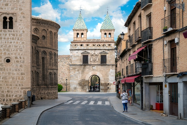 Puerta de bisagra or alfonso vi gate in city of toledo, spain.