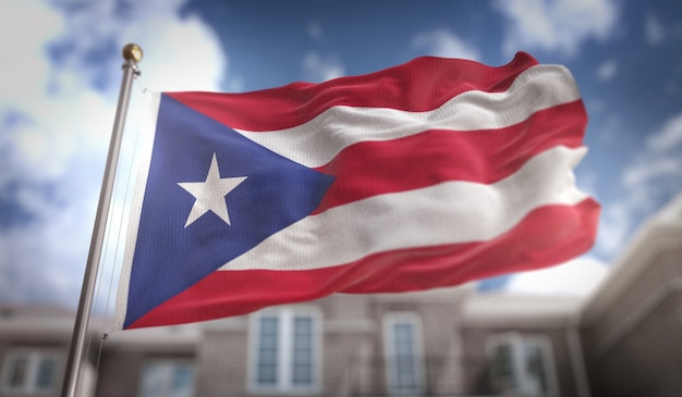Puerto rico flag 3d rendering on blue sky building background