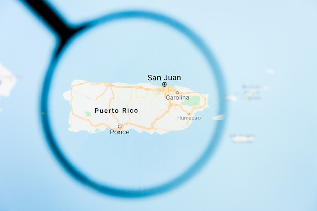 Puerto rico, pr state of america visualization illustrative concept on display screen through magnifying glass