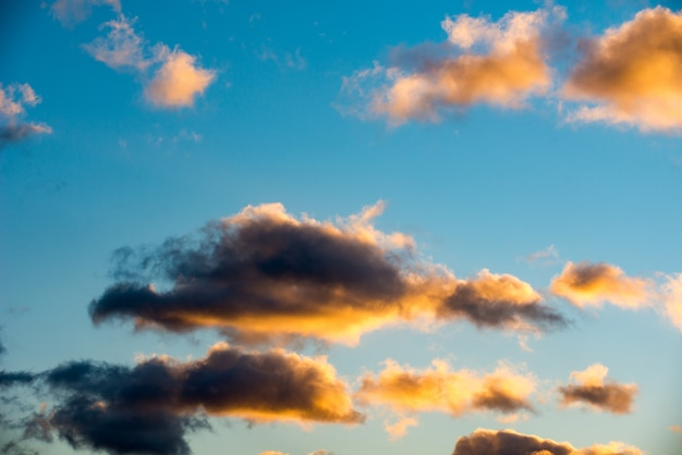 Puffy and colorful sunset clouds