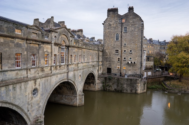 Pulteney bridge, river avon in bath spa city, england