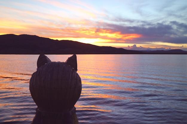 美しい夕日プーノペルーでチチカカ湖に対する伝統的なトトラ葦船のプーマヘッド船首