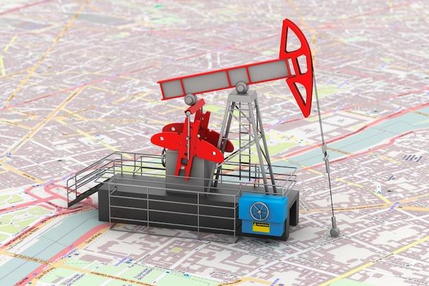 Насос джек нефтяной кран над картой 3d-рендеринга