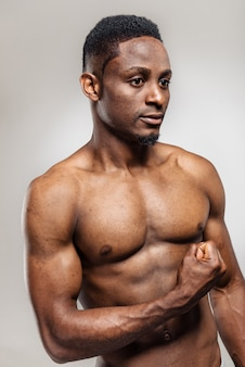 Pumped african american man after workout