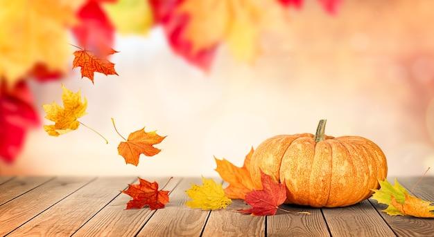 가을 공원을 배경으로 나무 탁자에 있는 호박과 가을 낙엽