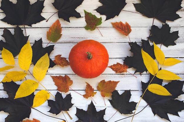 Тыква и листья на деревянной доске на белом фоне