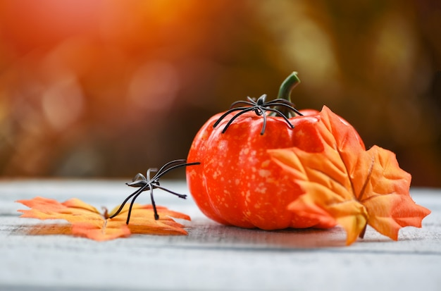 Pumpkin, autumn leaves and spiders