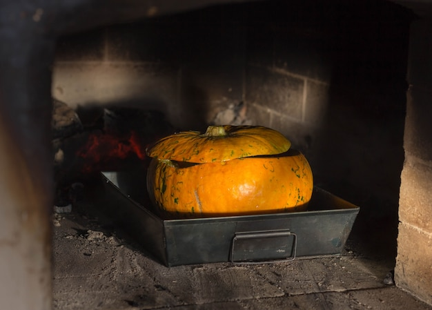 Pumpkin baked in the oven