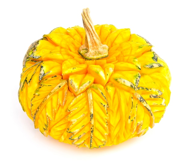 Pumpkin carved flower style thai beautiful in leaf shape