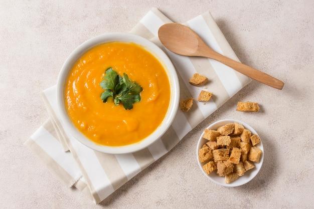Pumpkin cream soup above view