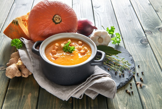 Pumpkin creme soup with garlic, red onion and ginger.