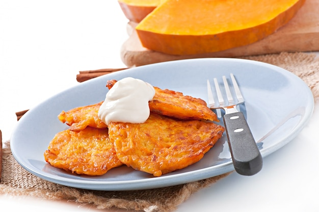 Pumpkin fritters with cinnamon and sugar