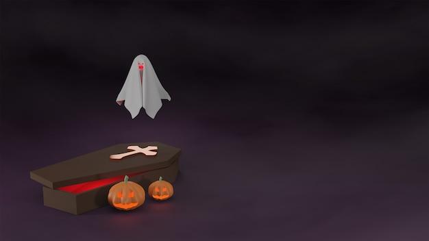 Pumpkin and ghost near coffin