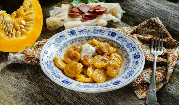 Pumpkin gnocchi with greaves