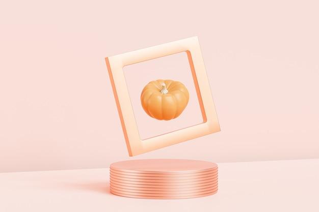 Pumpkin in golden frame on podium or pedestal, advertising for autumn holidays on pink background, 3d render