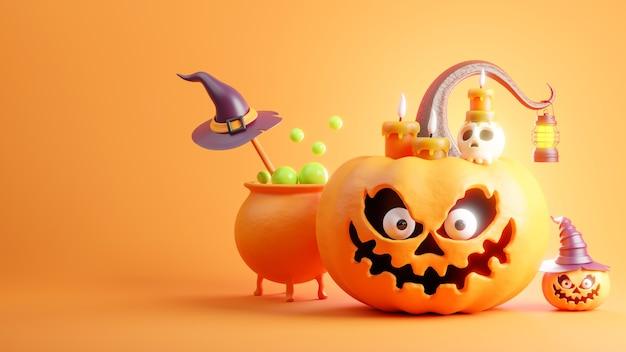 Pumpkin at halloween day on orange