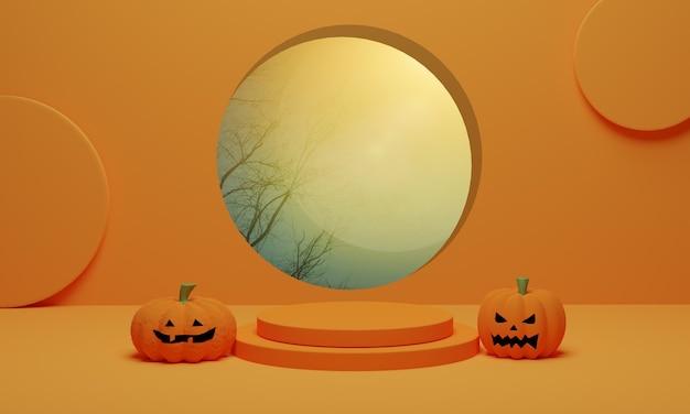 Тыква хэллоуин, джек o фонарь на оранжевом фоне. абстрактный дисплей продукта витрины подиума. 3d визуализация