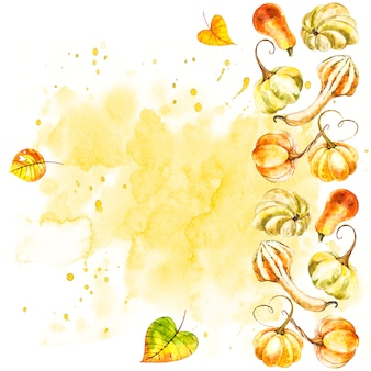 かぼちゃ。手は、白の水彩画を描いた。スプラッシュと水彩イラスト。