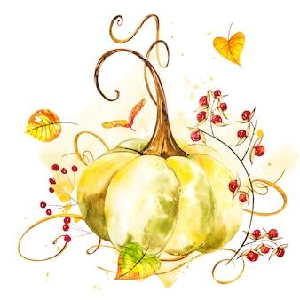 かぼちゃ。手は白の水彩画を描いた。スプラッシュと水彩イラスト。