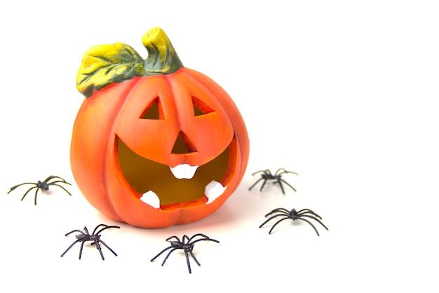 할로윈의 개념 흰색 배경에 호박 머리와 거미