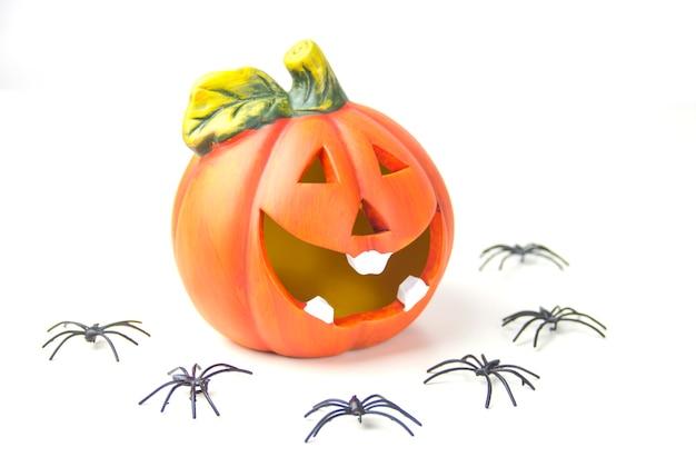 할로윈의 개념 흰색 배경에 호박 머리와 거미 프리미엄 사진