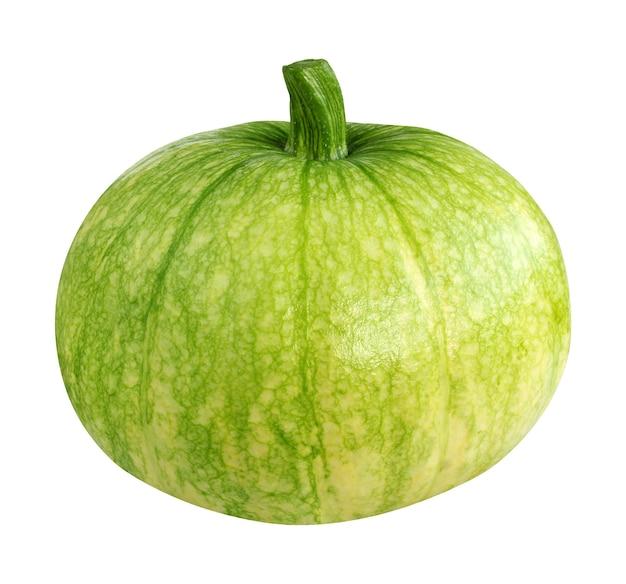 カボチャは白い背景で隔離。単一の緑の野菜。