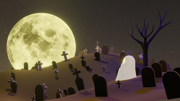 Pumpkin jack o lanterns ghost and a witch in the cemetery on halloween for background