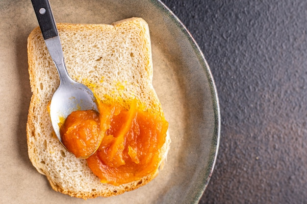 Pumpkin jam sweet dessert fresh  meal snack on the table copy space food background rustic