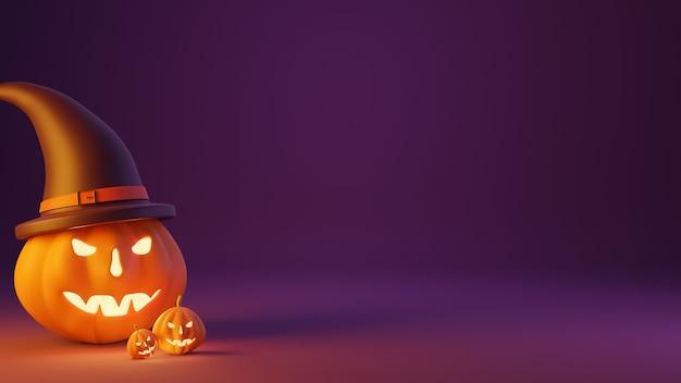 Тыквенный фонарь с фиолетовой шляпой ведьмы и фиолетовым фоном. концепция дня хэллоуина